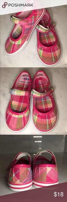 New Cherokee girls shoes These are adorable on. They have Velcro straps are the beautiful plaid material with rubber soles and toes. There is gathering due to the material and is a great look! Cherokee Shoes Sneakers
