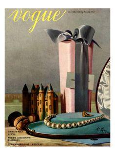 Vogue Cover - December 1937 Giclee Print by Pierre Roy at eu.art.com