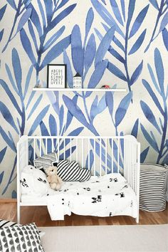 Wall mural with blue watercolor leaves, Temporary wall mural, Watercolor wall mural, Peel and stick wall mural Fototapete mit blauen … Watercolor Wallpaper, Watercolor Walls, Wallpaper Size, Watercolor Leaves, Vinyl Wallpaper, Bedroom Wallpaper, Baby Wallpaper, Temporary Wallpaper, Painted Paper