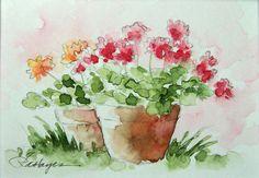 Geraniums in Terra Cotta Flower Pots Watercolor by RoseAnnHayes