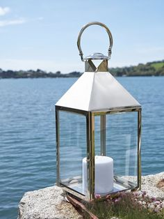 Big Stainless Steel Lanterns from Nordic House - These beautiful indoor/outdoor candle lanterns add a timeless elegance to any setting. Available in 3 sizes. #lanterns