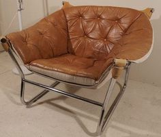 70s Mid Century DANISH MODERN Chrome LEATHER Lounge Chair Eames Resell Mathsson. $550.00, via Etsy.