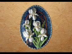 Ирисы. Скульптурная живопись и пастель в сочетании с трафаретной живописью и золочением. - YouTube