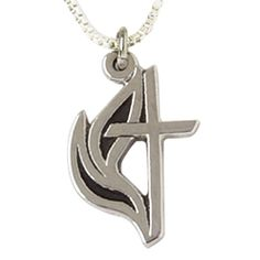 Sterling Silver Cross Necklace - w/Flames on SonGear.com - Christian Shirts, Jewelry