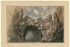 """Set design (1878), by Philippe Chaperon (1823-1906), for Act 5, Scene 1, of """"La statue"""" (1861), by Ernest Reyer [born Ernest Rey] (1823-1909)."""
