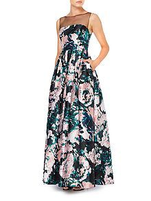Illusion neckline floral ballgown