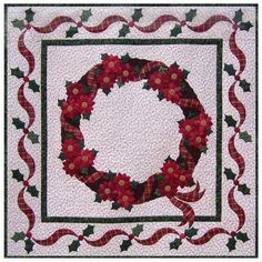 Designed by  Kay Gentry of Noble Needle Quilting & Sewing This Christmas wall hanging features brightly colored groupings of poinsettia flowers clustered between red plaid ribbons spiraling around a brown wreath. Curled ribbon tails float over the first border onto the second border of twisted ribbons and holly leaves. The twisted ribbon shapes, flowers and holly leaves can be cut using the AccuQuilt Studio Fabric Cutter (50800) and dies. Pattern Downloads are best viewed using the latest…