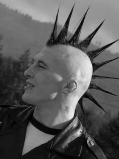 "Longer mohawk styled in ""liberty spikes""!"