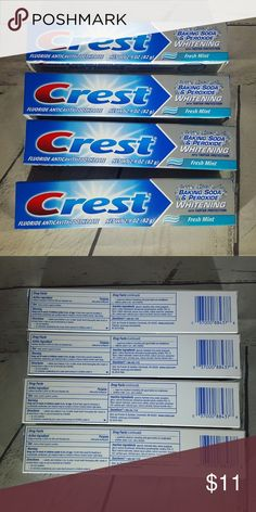 Health Personal care products This is for 4 tubes of Crest toothpaste 2.9 oz tubes  reshen your whole mouth with Crest. Crest Baking Soda & Peroxide Whitening Fresh Mint Toothpaste helps your mouth to feel healthy and clean. Using hydrogen peroxide for teeth whitening will remove surface stains and bring out the natural whiteness of your teeth. Plus, it effectively protects against tartar build-up and cavities to help prevent tooth decay.  Crest Baking Soda & Peroxide Whitening Fresh Mint…