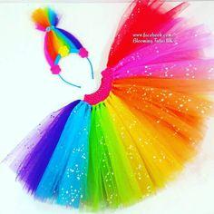 Rainbow Sparkly Trolls headband and Tutu Skirt by BloomingTutusUK