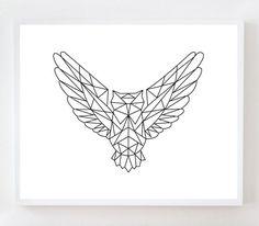 Impression d'Art mur hibou géométrique par OwlYouNeedIsLoveShop