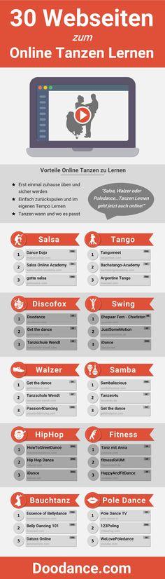 [Infografik] 30 Webseiten zum Online Tanzen Lernen: Endlich tanzen lernen – davon träumst Du schon lange? Dann haben wir etwas für Dich: Unsere große Infografik mit den  30 besten Webseiten zum online tanzen lernen.  Wir haben das Internet durchforstet und die Top-Tanzseiten zusammengestellt – von Salsa, Tango, Discofox und Swing bis hin zu Poledance ist alles dabei!  Den ganzen Blogartikel gibt es hier: https://blog.doodance.com/2016/06/03/30-websiten-zum-online-tanzen-lernen/