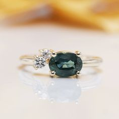 Gold High Quality Oval Green Sapphire Diamond Engagment Ring/Green Gem Engagement ring/Birthday Diamond Ring/Anniversary Sapphire ring by Masterjewelryshop Sapphire Diamond Engagement, Sapphire Rings, Sapphire Stone, Green Sapphire, Green Gem, Diamond Anniversary Rings, Tourmaline Ring, Quality Diamonds, Brilliant Diamond