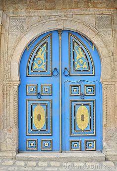 Engraved Blue Tunisian Door