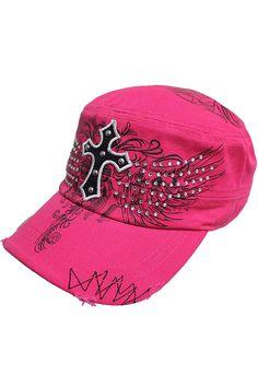 59e59f420a5 Rhinestone Graphic Cross Soldier Cap Hat Military Cap