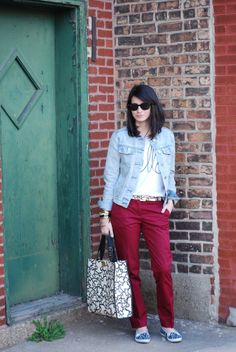 Blogger Hallways Are My Runways pairs a Gap collarless denim jacket with bright pants.