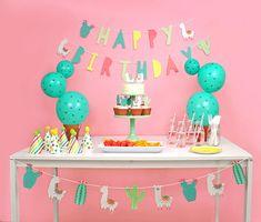 Llama and Cactus Birthday Banner Happy Birthday Sign