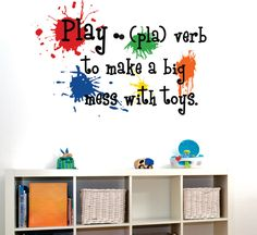 Childrens Wall Decal  Play Definition - Playroom Vinyl Wall Art - Childrens Playroom Decor. $16.00, via Etsy.