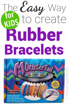 The Easy Way for Kids to create Rubber Band Bracelets Rubber Band Bracelet, Rubber Bracelets, Rubber Band Crafts, Rubber Bands, Loom Bands Instructions, Monster Tail Loom, Loom Board, Rainbow Loom Bracelets, Craft Kits