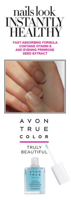Avon True Color Cuticle Conditioner Brush on and massage into nails and cuticles. Avon Nails, Avon True, Avon Online, Evening Primrose, Vitamin E, Facebook Sign Up, True Colors, Makeup Yourself, Conditioner