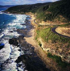View south-east along Great Ocean Road towards Lorne