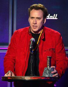 Nicolas Cage Photos - Actor Nicolas Cage speaks onstage at the 2014 Revolver Golden Gods Awards at Club Nokia on April 2014 in Los Angeles, California. - Annual Revolver Golden Gods Award Show - Show West Los Angeles, Nicolas Cage, Weird, Actors, Celebrities, Revolver, Pictures, Photos, Celebrity