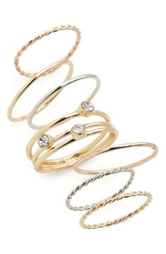 BP. Set of 7 Assorted Rings available at #Nordstrom