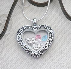 Nana Heart Locket, Nana Necklace, Mom Necklace, Birthstone Necklace, 1 2 3 4 5 6 Birthstones, Grandma Gifts, Mimi Necklace, Mom Gift, Custom