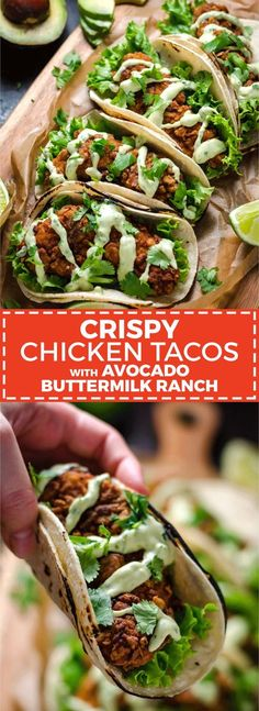 Crispy Chicken Tacos with Avocado Buttermilk Ranch. These tacos aren't traditional by any means, but they ARE delicious. Crispy, Mexican-seasoned chicken tenders + cool, creamy avocado ranch sauce are a match made in taco heaven. Think Food, I Love Food, Good Food, Yummy Food, Awesome Food, Comida Latina, Cooking Recipes, Healthy Recipes, Cooking Pork