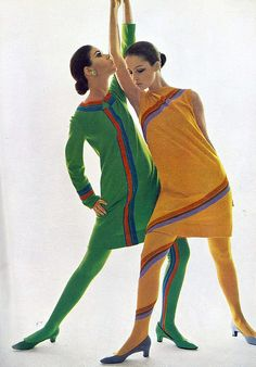 Colleen Corby (l) and model in colorful knitwear by Rudi Gernreich, photo by Bert Stern, Vogue UK, 1966