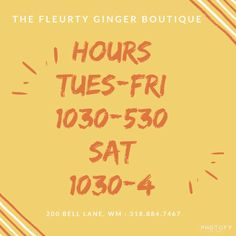 Reminder of our hours! Shop with us Tuesday-Saturday for amazing pieces!!! We can't wait to see YOU  . . 200 Bell Lane WM 318.884.7467 #thefleurtygingerboutique #northlouisianasplussizeheadquarters #shoplocal #shoptfgb