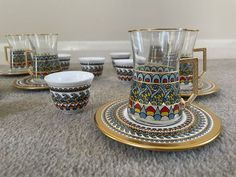 Exclusive Turkish Coffee/Tea Gift Set These lovely gift set are the perfect excuse to throw a tea and coffee party every day. With gold trims and different pop colours on the surface they are a little big glam and boho at the same time. Coffee Gift Sets, Tea Gift Sets, Tea Gifts, Coffee Gifts, Tea Set, Espresso Cups, Coffee Cups, Glass Tea Cups, Tea Glasses