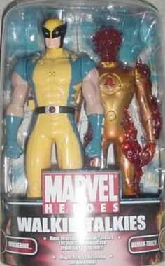 MGA Marvel Spiderman Walkie-Talkie Human Torch Wolverine by MGA Entertainment. $54.95. The powerful walkie-talkies send and receive messages up to 120'. It has 2-detailed, figural walkie-talkies of classic marvel heroes. It provides incredible figure detail. Just lift their arms and start talking. The figure arms act as the antennas. From the Manufacturer                MGA Marvel Spiderman Walkie-Talkie helps you to receive and send messages to your favorite ...