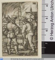 (Hans) Sebald Beham: Die Schildwache bei den Pulverfässern. 1520 - 1550. Herzog Anton Ulrich-Museum, Signatur HSBeham-Kopie AB 3.202, Inv. Nr 1377. http://kk.haum-bs.de/?id=h-s-beham-ab3-0202