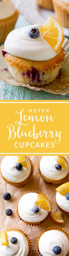 homemade lemon cupcakes with blueberries and cream cheese frosting! Lemon Blueberry Cupcakes, Blueberry Recipes, Lemon Recipes, Baking Recipes, Cookie Recipes, Homemade Cupcake Recipes, Baking Cupcakes, Yummy Cupcakes, Cupcake Cakes