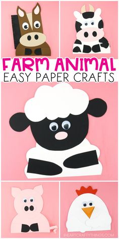 Five fun and easy farm animal crafts for kids to make. Learn how to make a horse, chicken, sheep, cow and pig. Easy farm animals paper crafts for preschoolers and kids of all ages. Giraffe Crafts, Ocean Animal Crafts, Farm Animal Crafts, Pig Crafts, Turtle Crafts, Sheep Crafts, Chicken Crafts, Farm Crafts, Animal Crafts For Kids