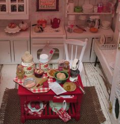 Apple Pie Prep Table for Fall-Dollhose by RibbonwoodCottage