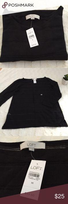 """NWT LOFT Black Sweater LOFT Black Light Sweater. Measurements (taken flat): Bust 18.5, Length: 27"""". LOFT Sweaters Crew & Scoop Necks"""