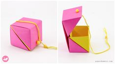 Hinged Origami Box - Cube Version Tutorial - Paper Kawaii