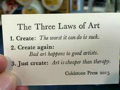 Art is cheaper than therapy. Bad art happens to good artists. The worst it can do is suck. Quotes To Live By, Me Quotes, Qoutes, Music Quotes, Wisdom Quotes, Funny Quotes, Bad Art, Artist Quotes, Creativity Quotes