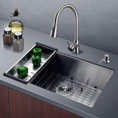 Harrahs 32 Inch Kitchen Sink Lips Easy Drain Stainless Steel Single Bowl With Solid Bottom Grid Vegetable Basket Soap Dispenser And Strainer Bar