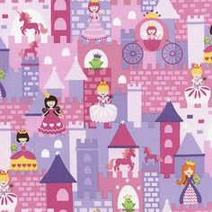 Princess and Unicorn Fabric by Timeless Treasures Pink and Purple Castles with Princesses and Frogs
