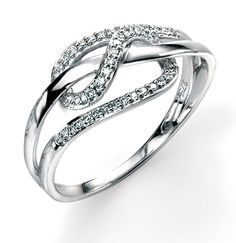 9ct White Elements Gold Diamond loopy Ring