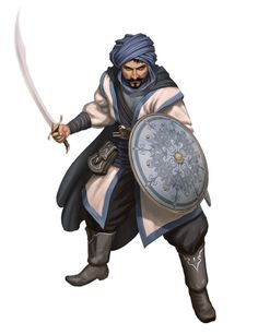 Male Human Scimitar and Shield Fighter Warrior - Pathfinder PFRPG DND D&D 3.5 5E 5th ed d20 fantasy