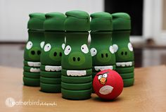 Angry Bird Party Pig Bowling - Made from recycled Coffeemate Creamer Bottles