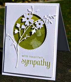 I need to use this flower die With Sympathy by hskelly - Cards and Paper Crafts at Splitcoaststampers Pretty Cards, Cute Cards, Memory Box Cards, Memory Box Dies, Get Well Cards, Card Sketches, Paper Cards, Flower Cards, Creative Cards