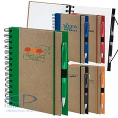 "Recycled Color Spine Spiral Custom Journal [product review] ""Ordered it for a training session and they were the perfect size to use during the meetings and take home for use elsewhere.  Having the pen attached made it very convenient."" - J. Stephanie"