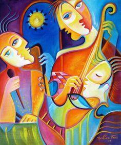 Cubism Abstract Acrylic Original Painting on canvas The Musicians Los Musicos Marlina Vera Modern Fine Art Gallery Sale Cubist Paintings, Cubist Art, Your Paintings, Original Paintings, Pintura Graffiti, Art Picasso, Pop Art, Art Visage, Galerie D'art