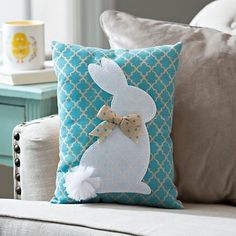 Bring a bit of cute, trendy style to your Easter décor with our Blue Quatrefoil Bunny Pillow. Colorful and charming, it's a fantastic Easter accent. Petit oasis du beau et du bon Shop Kirkland's for a wide selection of Easter decorations, Easter eggs and Easter Projects, Diy Craft Projects, Easter Crafts, Diy And Crafts, Sewing Projects, Easter Decor, Sewing Pillows, Diy Pillows, Decorative Pillows