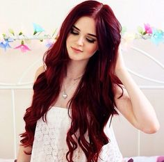 Long dark red hair